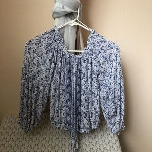 blue and white floral off the shoulder top